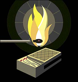 Stephen Savage illustration for 2/2/03 NYT review of 'A Box of Matches'